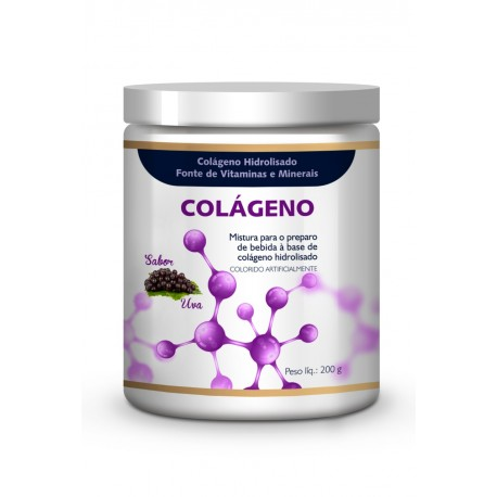 Colágeno Hidrolisado 4Yourfamily previne celulite e rugas - Sabor Uva 200g