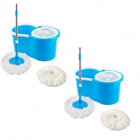 Kit c/2 Mop Esfregao Limpeza Pratica c/ Cesto Inox Uitech